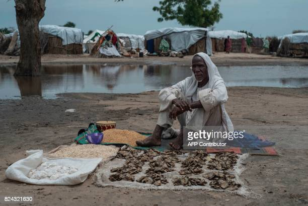 A man sits by the grain and dried fish he is selling in the Rann InternallyDisplaced Peoples in northeast of Nigeria close to the Cameroonian border...
