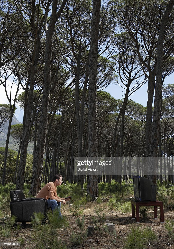 Man Sits in an Armchair in a Forest, Watching TV : Stock Photo