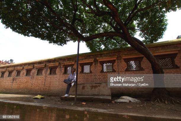 Man Sitting By Tree Against Wall