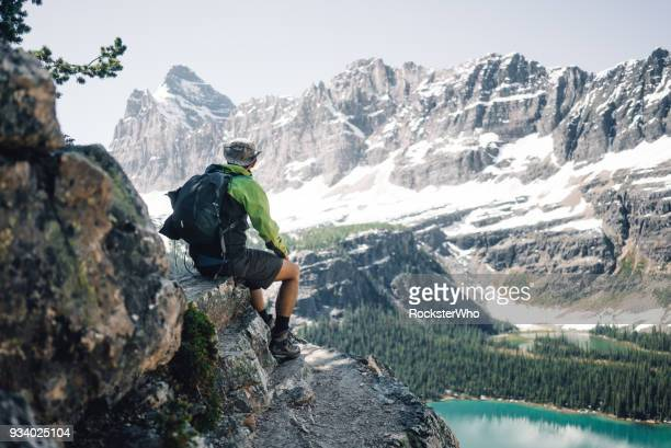 man sitting down in front of the beautiful view of mountains and lakes - who stock pictures, royalty-free photos & images