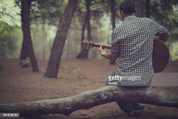 man sitting in forest playing the guitar, spain - saiteninstrument spielen stock-fotos und bilder