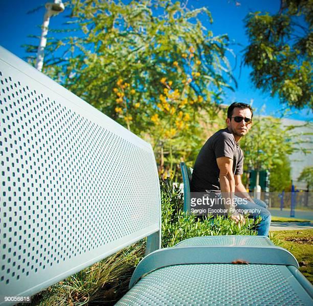 Man sitting in garden
