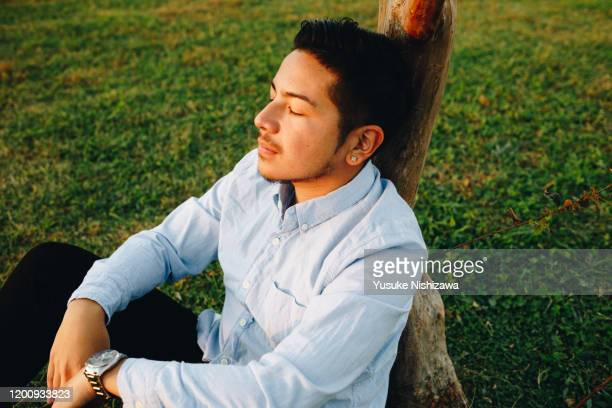 a man sitting leaning against a tre - yusuke nishizawa stock pictures, royalty-free photos & images