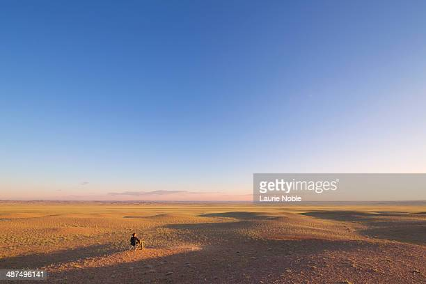 man sitting looking at vast open plains, omnogov - omnogov stock pictures, royalty-free photos & images