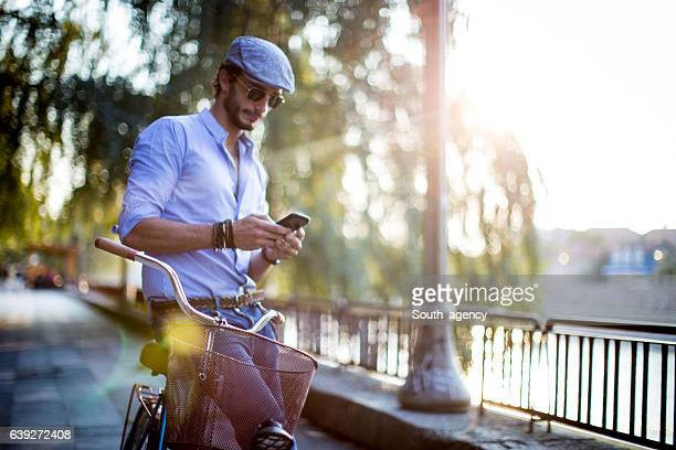 Man sitting on a bicycle