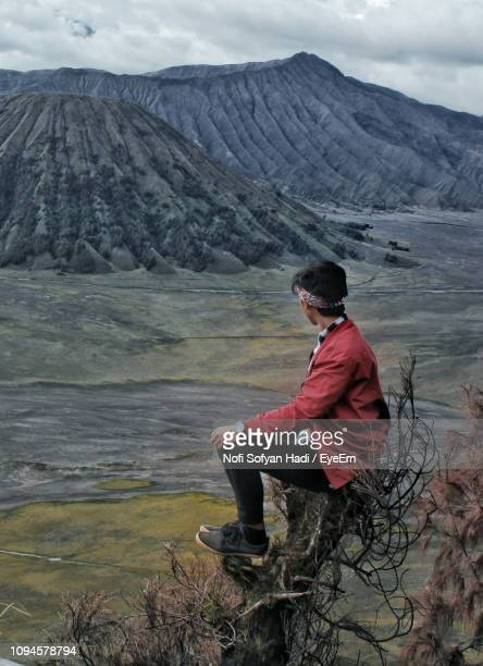 Man Sitting On Bare Tree While Looking At Mountains
