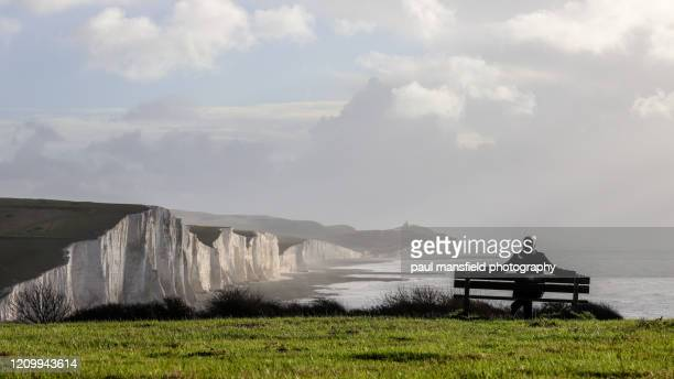 man sitting on bench near coastline - bench stock pictures, royalty-free photos & images