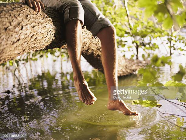 Man sitting on branch dangling feet over stream, low section