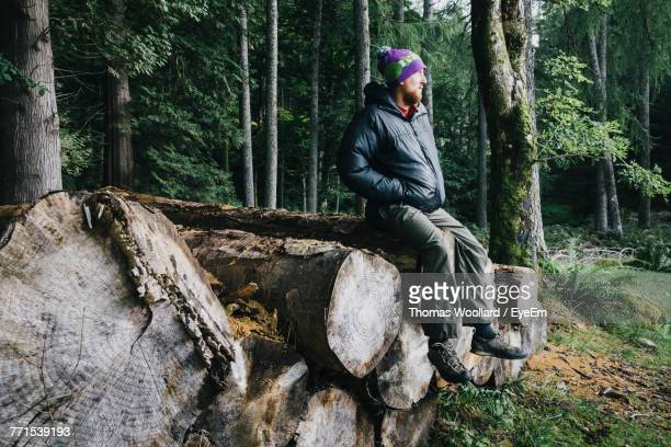 man sitting on log against trees at forest - log stock pictures, royalty-free photos & images