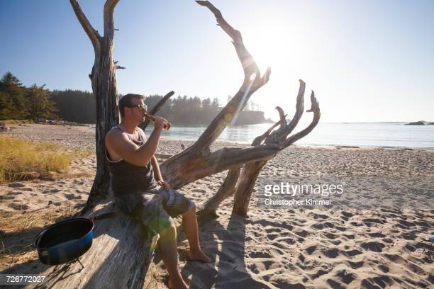 a man sitting on log drinking beer on the beach - sunset bay state park stock pictures, royalty-free photos & images