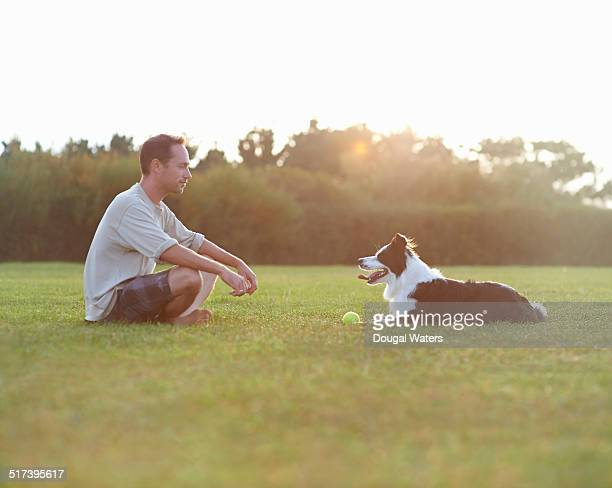 man sitting opposite dog in field. - homme soumis photos et images de collection