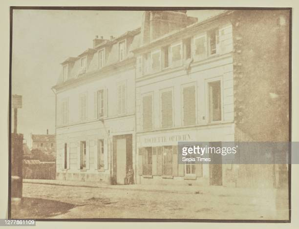 Man sitting outside optician's shop; Hippolyte Bayard ; France; about 1840–1849; Salted paper print; 16.5 × 21.8 cm .