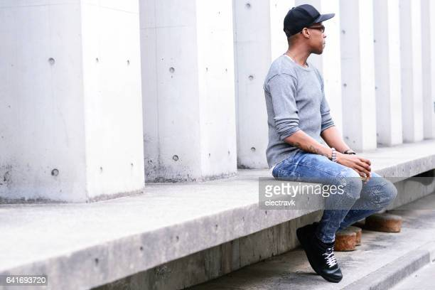 Man sitting outside