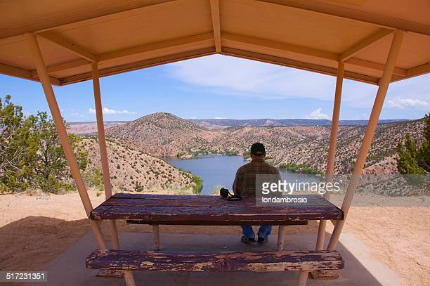 Man sitting under an awning at the picnic table