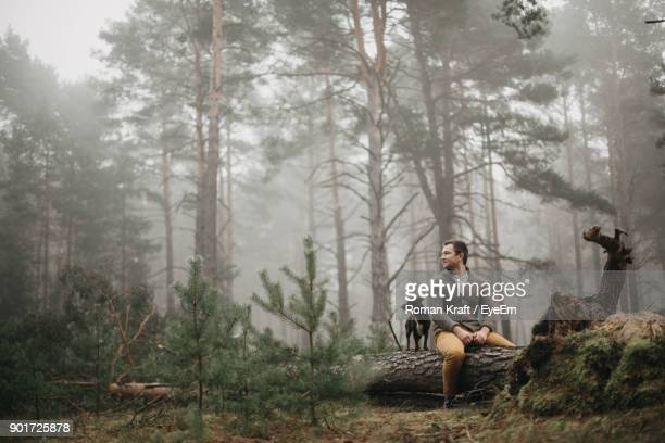 Man Sitting With Dog On Fallen Tree In Forest