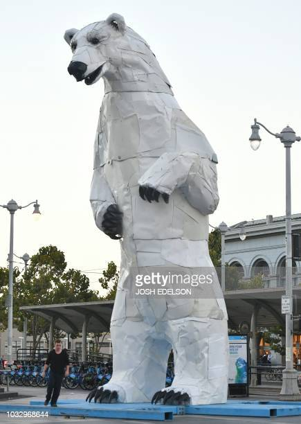 A man skateboards on a polar bear statue made out of car hoods is seen in front of the Ferry Building during the Global Climate Action Summit in San...