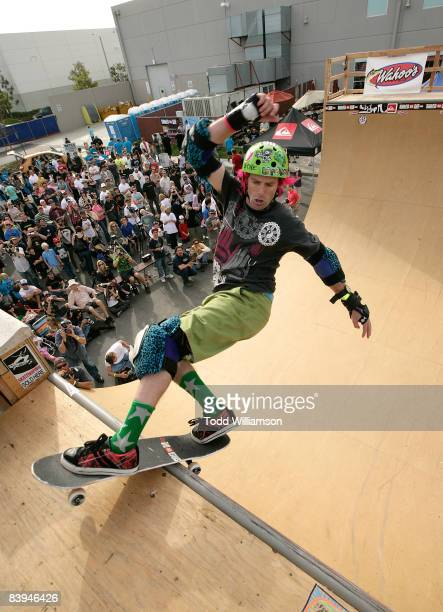A man skates at the Quiksilver Tony Hawk All 80s All Day Vert Challenge at Quiksilver on December 6 2008 in Huntington Beach California