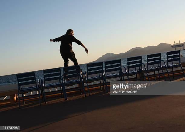 A man skates on the 'Croisette' on March 24 2009 in Cannes southeastern France two months prior to the begining of the Cannes film festval 62nd...