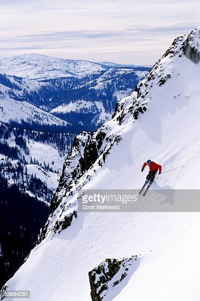 man skiing at squaw valley - lake tahoe stock pictures, royalty-free photos & images