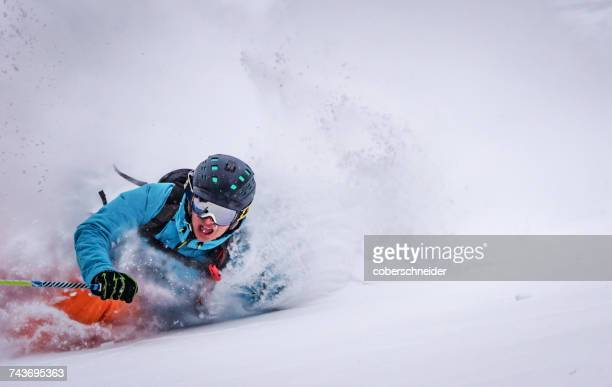 man skiing, bad gastein, salzburg, austria - wintersport stock-fotos und bilder