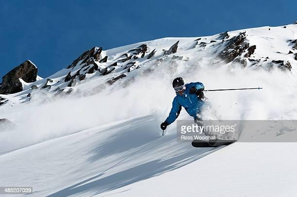 Man skiing downhill, Obergurgl, Austria