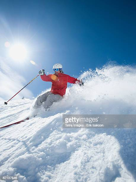 man skiing downhill - park city utah stock pictures, royalty-free photos & images