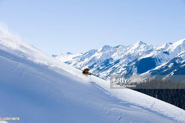 man skiing in aspen, colorado. - aspen colorado stock photos and pictures