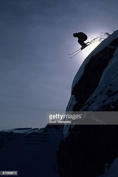 man skiing in lech, austria. - taking the plunge stock photos and pictures