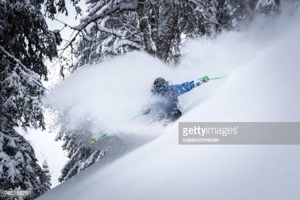 Man skiing in powder snow, Zauchensee, Salzburg, Austria