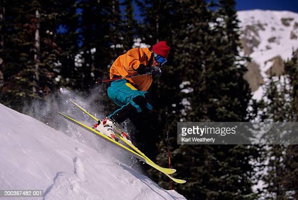 Man skiing, Jackson Hole, Wyoming, USA