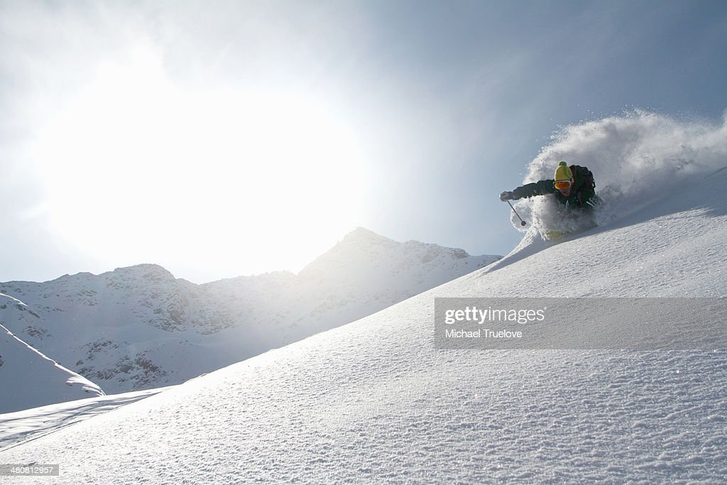 Man skiing off piste in Kuhtai , Tirol, Austria : Stock Photo