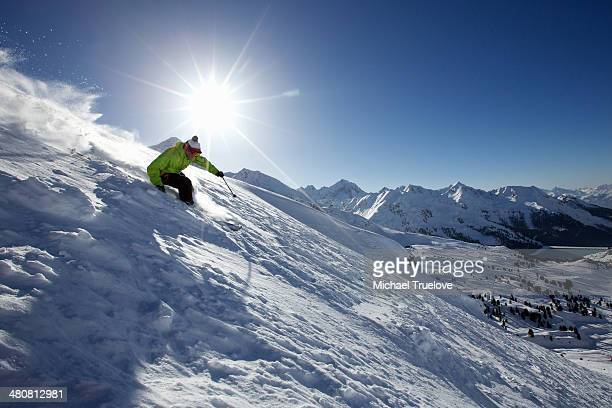 Man skiing off piste in Kuhtai ,Tirol, Austria