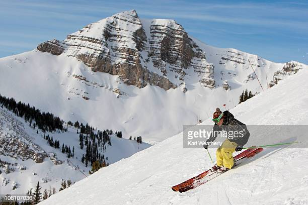 man skiing. - jackson hole stock pictures, royalty-free photos & images