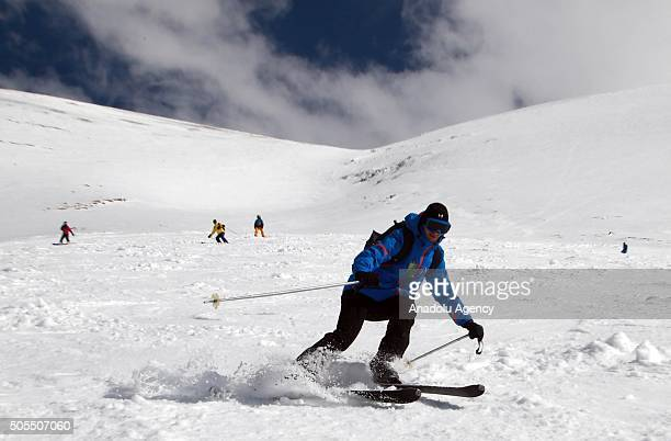 A man skis at the Lebanon's oldest ski center Cedars whose pistes are located 2000 meters up in the Lebanon mountains 120km from Beirut after Cedars...