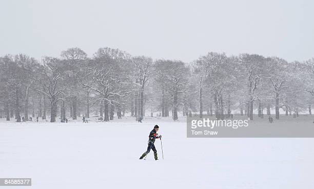 Man skis in the snow in Richmond Park on February 2, 2009 in south west London, England. The United Kingdom has suffered its heaviest snowfall since...