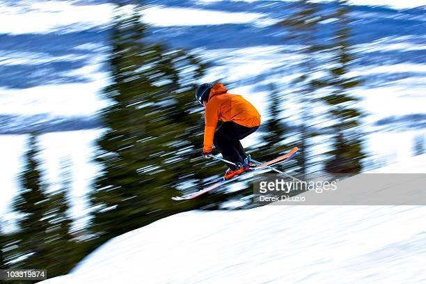 a man skis in wyoming. - jackson hole stock pictures, royalty-free photos & images