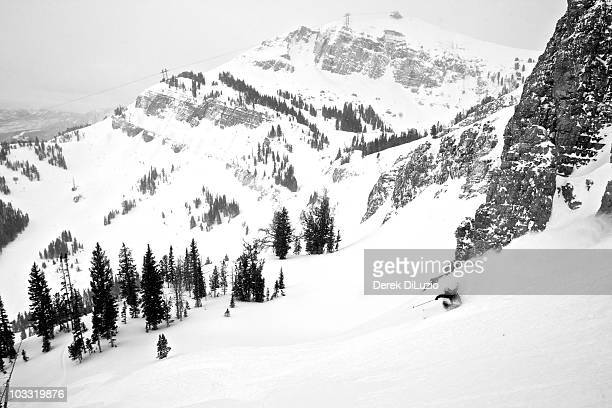 A man skis in Wyoming.