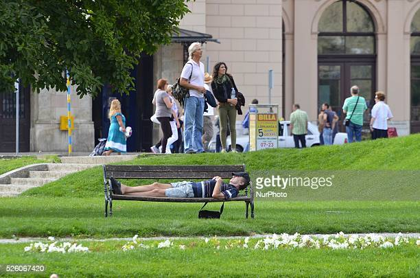 A man sleep in Zagreb Croatia on September 19 2015