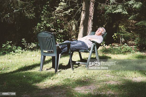 Man sleeping in garden
