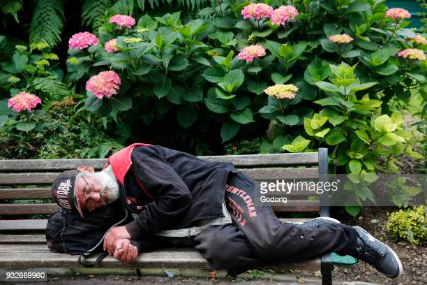Man sleeping on a park bench. France.