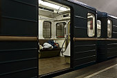 moscow russia man sleeps train moscow