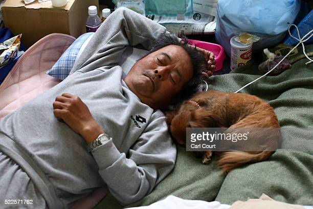 A man sleeps next to his dog as he shelters in a gymnasium used as an evacuation centre following an earthquake on April 20 2016 in Mashiki near...