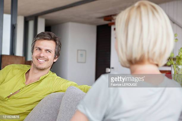 Man smiling at his wife