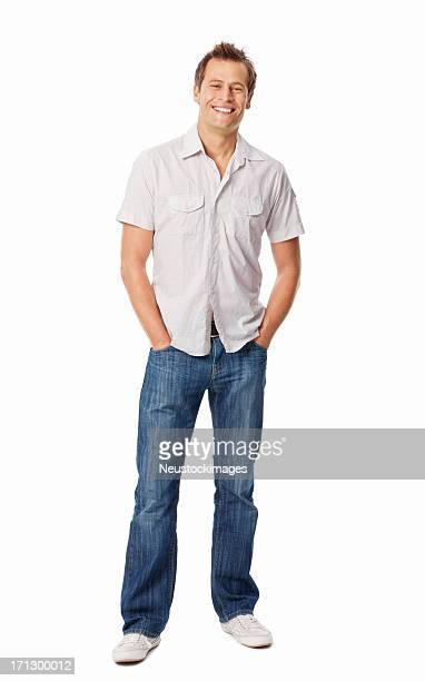 Lächelnder Mann mit Händen In den Taschen-isoliert