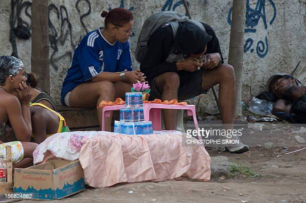 A man smokes crack during a policemunicipality joint operation to retire crack addicts from the streets in the vicinity of the Parque Uniao slum in...