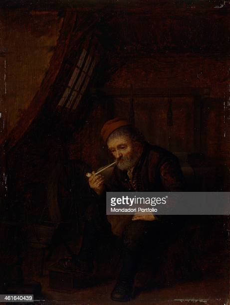 Man Smoking by Abraham de Pape 17th Century oil on canvas Italy Lombardy Milan Castello Sforzesco Civic Collection of Ancient Art Whole artwork view...