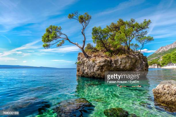 man snorkeling in adriatic sea in front of brela stone - adriatic sea stock pictures, royalty-free photos & images