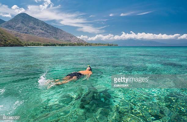 hombre haciendo esnórquel en las aguas azules - flores indonesia fotografías e imágenes de stock
