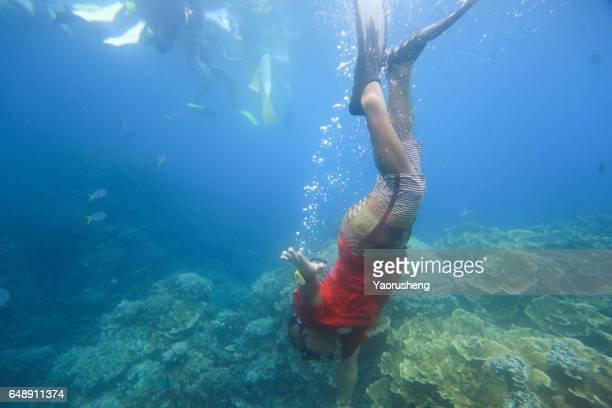 Man snorkeling in the Palau sea