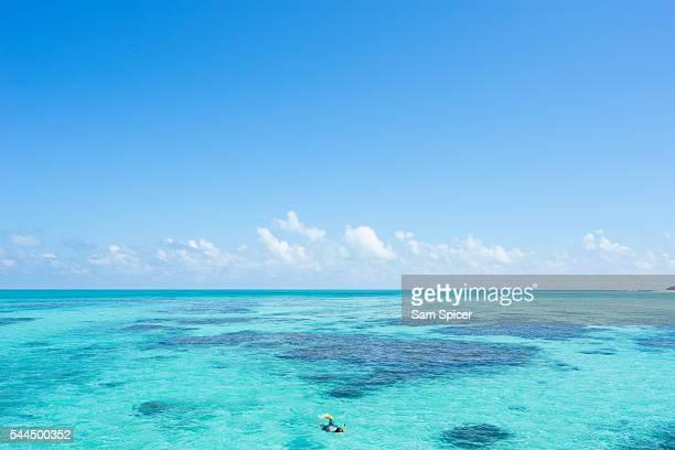 Man snorkelling, Taketomi island, Yaeyama Island Group, Okinawa prefecture, Japan